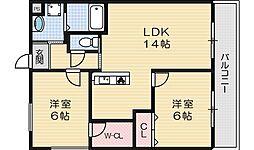 サンルミエール 1階2LDKの間取り