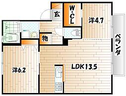 ヴァーチャスの杜 A棟[2階]の間取り