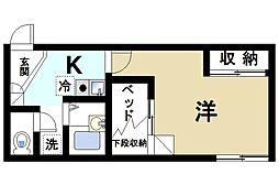 近鉄奈良線 近鉄奈良駅 バス6分 高畑町下車 徒歩5分の賃貸アパート 1階1Kの間取り
