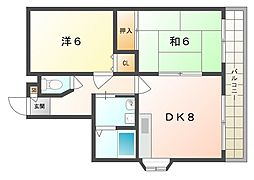 京阪本線 西三荘駅 徒歩13分の賃貸マンション 4階2DKの間取り
