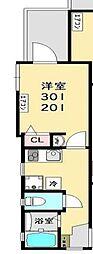 ロワール生麦 弐番館 3階1Kの間取り