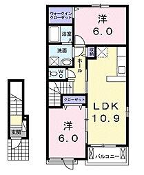 千葉県茂原市東部台3丁目の賃貸アパートの間取り