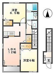 カーサフェリーチェ A[2階]の間取り