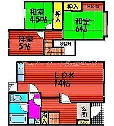 岡山県岡山市中区住吉町1丁目の賃貸アパートの間取り