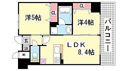 エステムプラザ神戸大開通ルミナス[908号室]の間取り