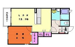 メロディアイナバ[1階]の間取り