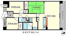 ジオ四条桂川ブライトコア[1階]の間取り