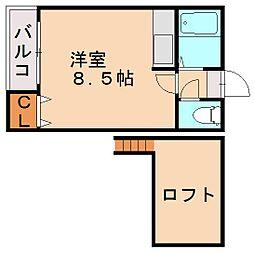 福岡県福岡市中央区輝国2丁目の賃貸アパートの間取り
