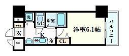 ララプレイス三宮東アスヴェル 11階1Kの間取り