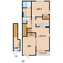 和歌山県和歌山市川辺の賃貸アパートの間取り