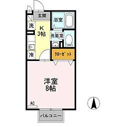 長野県長野市若里2丁目の賃貸アパートの間取り