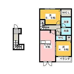 愛知県名古屋市名東区猪高台1丁目の賃貸アパートの間取り