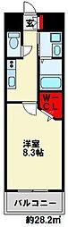 ギャラン竪町Neo 20階1Kの間取り