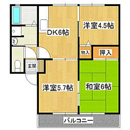 グランドゥールB棟[2階]の間取り