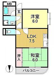 アメニティK&K−1[3O3号室号室]の間取り