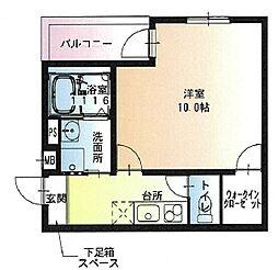 フジパレス若江岩田ノース 2階1Kの間取り