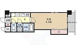 ラグゼ山科 4階1Kの間取り