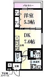 阪神本線 武庫川駅 徒歩7分の賃貸アパート 3階1DKの間取り