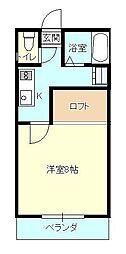 JR山形新幹線 山形駅 バス15分 桜田西下車 徒歩3分の賃貸アパート 3階1Kの間取り