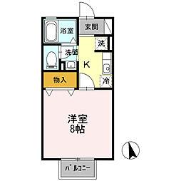 愛知県岡崎市井田新町の賃貸アパートの間取り