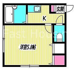 東京都杉並区阿佐谷北4丁目の賃貸アパートの間取り