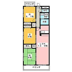 リブラ鶴羽[3階]の間取り