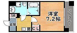 JR東海道・山陽本線 六甲道駅 徒歩9分の賃貸マンション 2階1Kの間取り