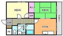 大阪府大阪市東住吉区中野4丁目の賃貸マンションの間取り