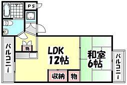 大阪府高石市加茂2丁目の賃貸マンションの間取り