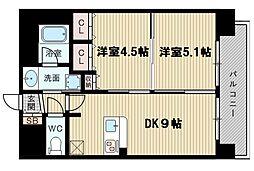 エステムコート新大阪XIIIニスタ 2階2DKの間取り