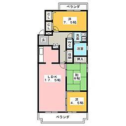 三渓ヒルズ C棟[3階]の間取り