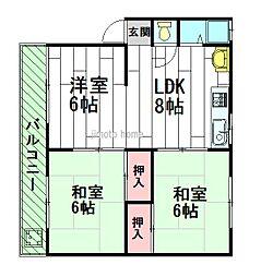 千里マンションB棟[2階]の間取り