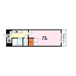 ペット可カーサソラッツオ弐番館[4階]の間取り