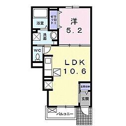 JR宇野線 茶屋町駅 徒歩12分の賃貸アパート 1階1LDKの間取り