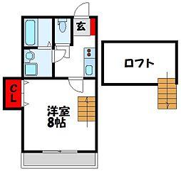 福岡県宗像市田久2丁目の賃貸アパートの間取り