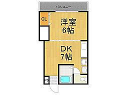 メニーローザ甲東園[1階]の間取り