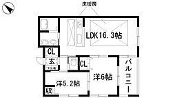 兵庫県宝塚市中山荘園の賃貸アパートの間取り
