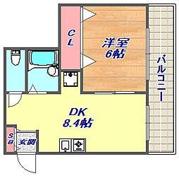 兵庫県神戸市灘区備後町2丁目の賃貸マンションの間取り