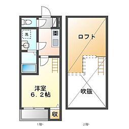 愛知県名古屋市中村区則武2丁目の賃貸アパートの間取り