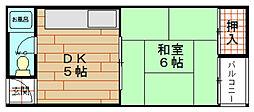 大阪府大阪市港区市岡元町2丁目の賃貸マンションの間取り