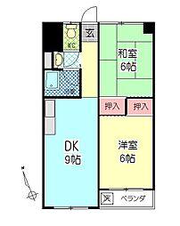 西大分ビル2[401号室]の間取り