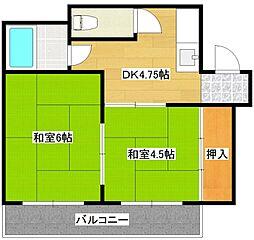 マンションサンエース[2階]の間取り