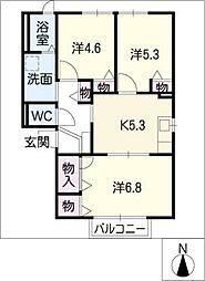 ハッピーパレス篠木[1階]の間取り