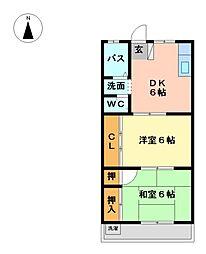 モリマンション[2階]の間取り