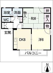 ローズガーデン800D棟[2階]の間取り