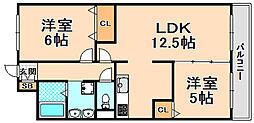 兵庫県伊丹市車塚1丁目の賃貸マンションの間取り