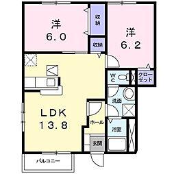 茨城県かすみがうら市稲吉東4丁目の賃貸アパートの間取り
