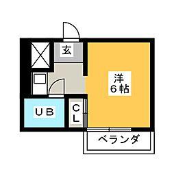 杁中カジウラマンション[3階]の間取り