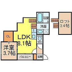 Loft10名駅 2階1LDKの間取り