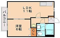福岡県飯塚市鯰田の賃貸アパートの間取り